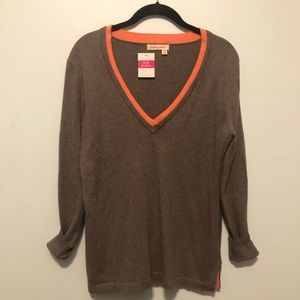 Fresh Produce V-Neck Sweater Tan Coral Trim XS